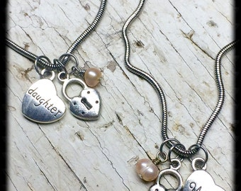 Mother and Daughter Necklace Set-Mother Of The Bride Gift-Gift For Mom-Gift For Daughter-Gift For Her-Wedding Gift-Mom Necklace-Daughter