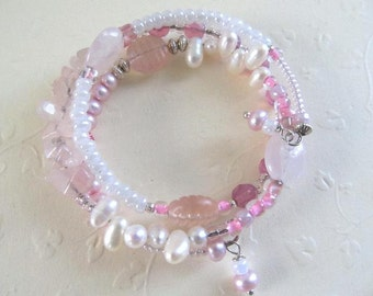 Pink Stones with Fresh Water Pearls Wrap Bracelet
