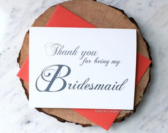 Thank You For Being My Bridesmaid Card | Wedding Day Stationery | Card for Bridesmaid | To My Bridesmaid | Pretty Handwritten Calligraphy