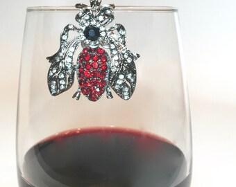 Red Queen Bee Wine Glass Marker
