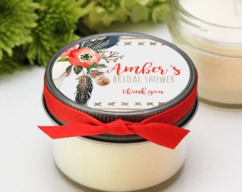 Set of 12 - 4 oz Soy Candle Bridal Shower Favors - Boho Skull with Feathers Label Design - Boho Bridal Shower Favors | Boho Favors