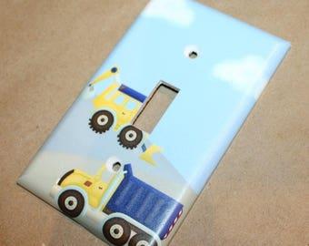 Construction Truck Boys Nursery Bedroom Single Light Switch Cover LS0065