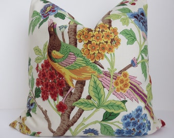 Blue Green Red Decorative Pillow Cover- Brown Green Yellow Bird Pillow- Accent Pillow - Bird Pillows - Bird