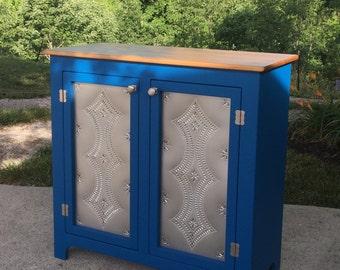 2 Door Vintage Style Tin Punch Buffet, Small Sideboard, Buffet, Custom Made Furniture, Kountry Kupboards
