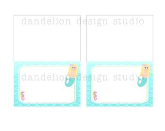 PRINTABLE Fancy Tent Tags - Mermaid Party Collection - Dandelion Design Studio