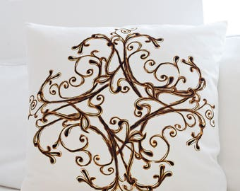 """Velvet Cushion Cover - Flower in Winter , Handmade in Ireland, 18"""""""