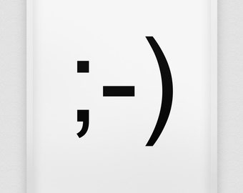 wink print // emoticon wink //  black and white home decor print // winking emoticon poster // ;-)