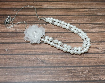 White Double Strand Flower Necklace - Lucite Flower Necklace - Pearl Necklace - Free US Shipping