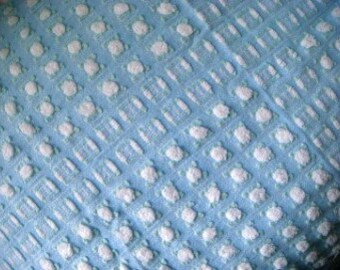 Morgan Jones Blue and White Rosebud Vintage Chenille 24x18