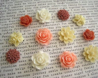 Flower Magnets, 12 pc Set, White, Cream and Dusty Rose, Kitchen Decor, Housewarming Gifts, Hostess Gifts, Wedding Favors, Stocking Stuffer