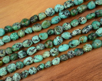 Natural Turquoise Beads Freeform Gem Stone 6mm to 8mm Bead 15 inches Strand 0789