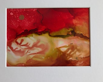 Original Alcohol Ink Painting, Matted to 8 x 10