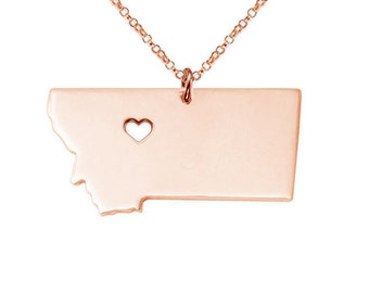 Estado de Montana de oro rosa encanto collar, Montana del collar, del estado estado estado collar, MT en forma de collar, collar personalizado con un corazón