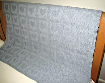 "Merino wool Baby Blanket ""Hearts"", Baby Blue, hand knitted"