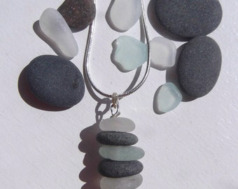 FUNKY Stacked Lake Superior Basalt Zen Stone and Beach Glass Necklace Pendant