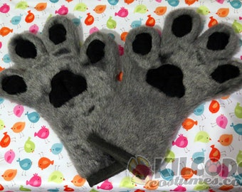 Toony Four-Finger Paw Gloves - Handpaws - Furry - Fursuit - Cosplay - Costume - Paws - Gray - Grey - Silver