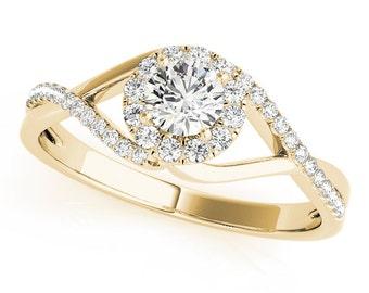 Infinity Swirl Halo Round Diamond Ring in Yellow Gold