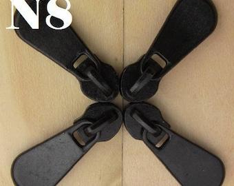 "4 ""sliders"" Heavy Metal Black spiral Nylon zipper"