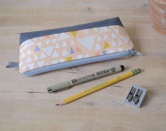 Pencil Case in Mojave Triangles, Zip pouch, Pencil pouch, Cosmetic case