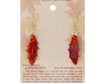 Real Pointed Oak Leaves Dipped In Iridescent Copper - French Hook Earrings - Iridescent Copper Electroplated - Carded