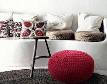 Bright Burgundy Knit Pouf, Ottoman Footstool, Floor Pillow Seating, Round Crochet Pouffe, Modern Rustic Decor