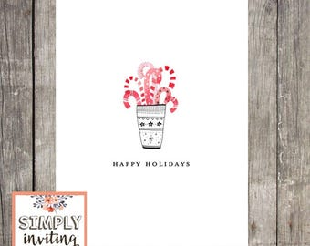Candy Cane Holiday Cards, Set of 10, Personalized Greeting Cards, Seasons Greetings, Merry Christmas, Christmas Cards, Happy Holidays