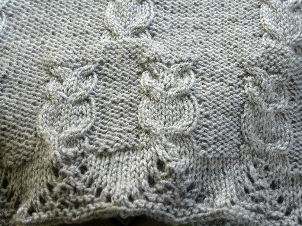 Shawlette Knitting Pattern PDF, Owls, Lacy Border, Owl Cables ...