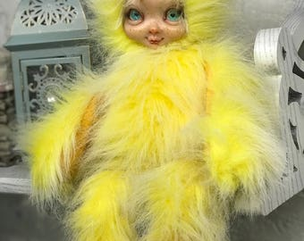 Little Lilly Chick - ooak doll - chicken - easter - handmade - collectable - ready to ship - vintage