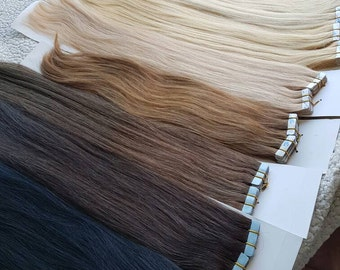 "Tape in human hair extensions,20"" 22'', European hair,Remy hair,hand made,Slavic hair,Russian hair"