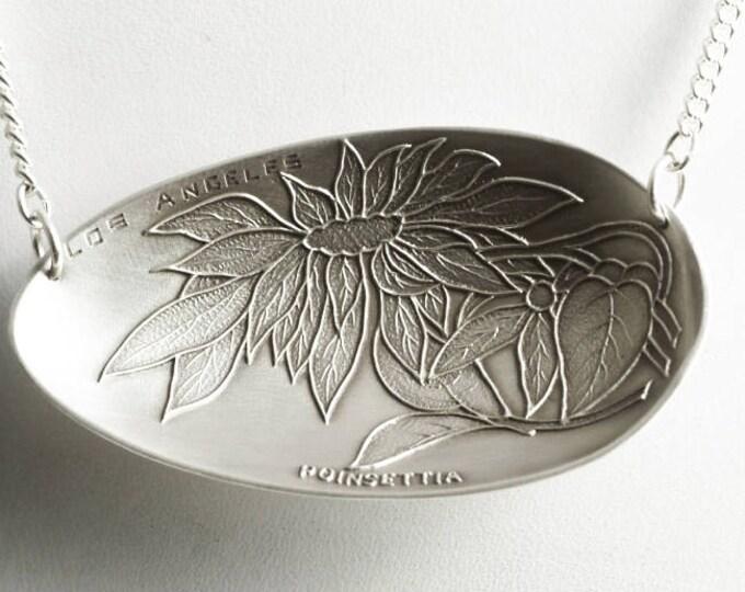 Sterling Pointsettia Necklace, Christmas Flower Pendant, Los Angeles Jewelry, Antique Silver Spoon Necklace, 925 Flores de Noche Gift (6826)