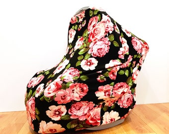 """Infant Baby Stretchy Multi-Functioning """"Red Roses"""" Car Seat Cover, Nursing Cover, Cart Cover"""