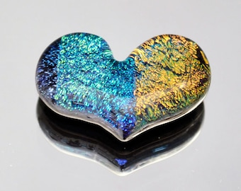 Dichroic Cabochon, Heart Cabochon, Fused Glass Heart Tile, Mosaic Heart Tile, Jewelry Cabochon, Pocket Heart, Gold, Blue & Purple Tile