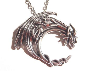 Dark Gunmetal Silver Dragon Pendant on Ball Chain Necklace 7K
