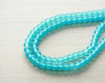 Glass Beads - 100 pcs Unique Frosted Round Deep Sky Blue Beads - 6mm