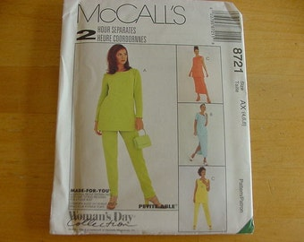 Vintage 1990s McCall's Pattern 8721, Misses' Pullover Tunic, Pull-On Pants, Skirt, Multi-Size 4-8, Uncut