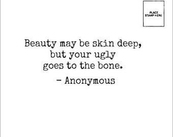 Beauty may be skin deep, but your UGLY goes to the bone - Makeup Wipe - Anonymous Mail