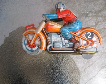 Rare 1950'S French Technofix GE255 Motorcycle  & rider toy, clockwork.