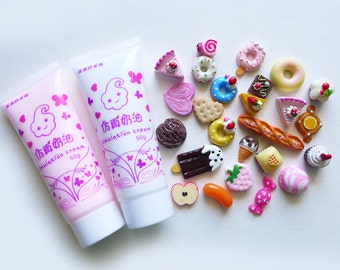 DIY Two Whipped Cream Glue + 25 pieces Food Resin Flatback Kawaii Cabochons Deco Kit