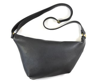 Emilie - Black Leather Shoulder Bag Handmade SS18