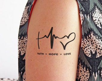 Faith, Hope and Love - Temporary Tattoo (Set of 2)