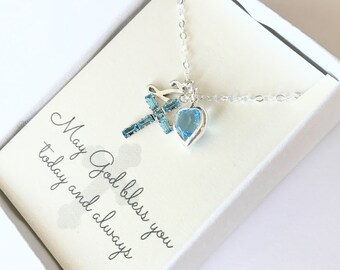 Crystal Cross Pendant - Cross Necklace - Aquamarine - March - Baptism Gift - First Communion Gift - Gift for Goddaughter - N111