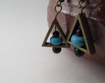 Geometric Antiqued Gold, Turquoise, and Black Earrings