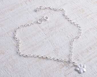 Paw print bracelet silver sterling silver cute paw print chain bracelet sterling silver 925 animal lover bracelet pawprint