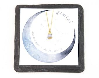 Gemini Stone Necklace, Horoscope Gift Necklace, Blue Lace Agate Necklace, Blue Gemstone Nugget, Gemini Horoscope, Zodiac Jewelry, Girlfriend