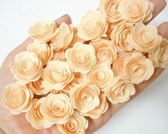 Set of 50Pcs - Handmade Cream 3D MINI Paper Rose