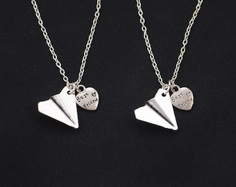 set of two necklaces, sterling silver filled, one direction, Harry styles, friendship jewelry, paper airplane necklace, best friend jewelry