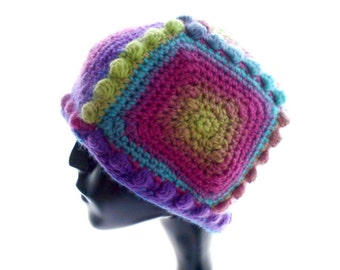 5 - Square Beanie Hat with Bobbles, Women's Crochet Hat, Wool - Blend Hat, Medium to Large Size