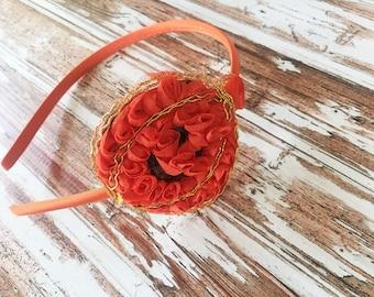 Pumpkin Headband - Halloween Headband - Girls Fall Pumpkin Head Band - Orange Headband for Girls - Thanksgiving Headband Photo Prop -