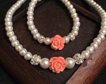 Flower girl jewelry set, glass pearls bracelet, faux pearls necklace, polymer clay  rose, beads jewelry set