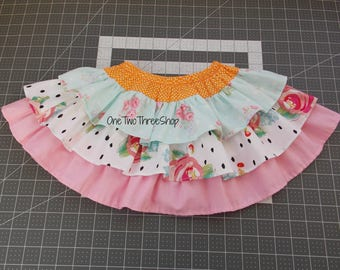 READY TO SHIP  out Vintage inspired ruffled layered skirt